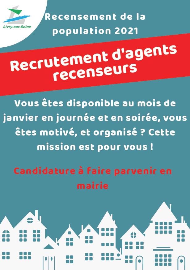 Affiche recrutement d'agents recenceurs