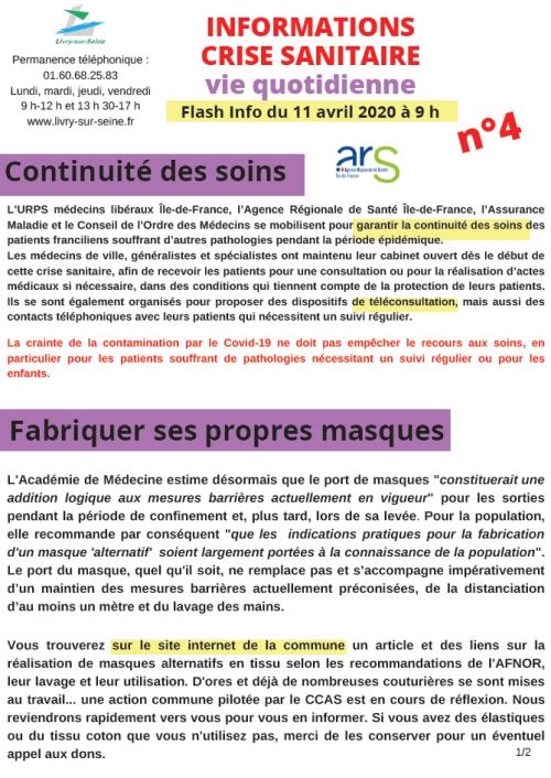 Information crise sanitaire n° 4 du 11 avril 2020