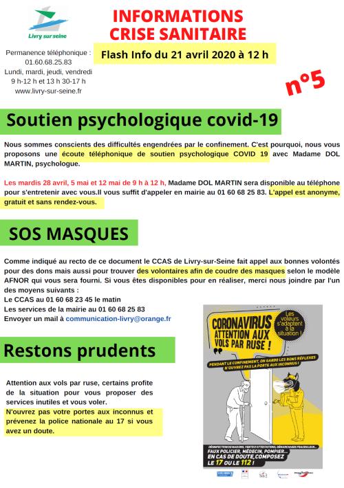 Information crise sanitaire n° 5 du 21 avril 2020