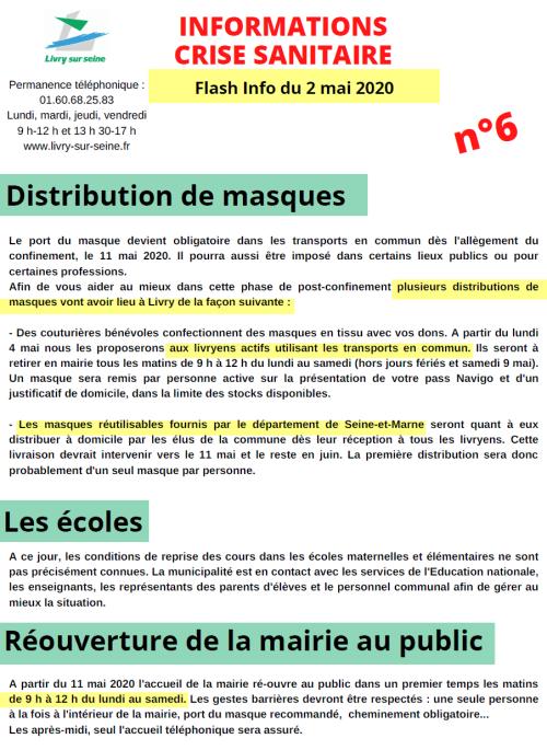Information crise sanitaire n° 6 du 2 mai 2020