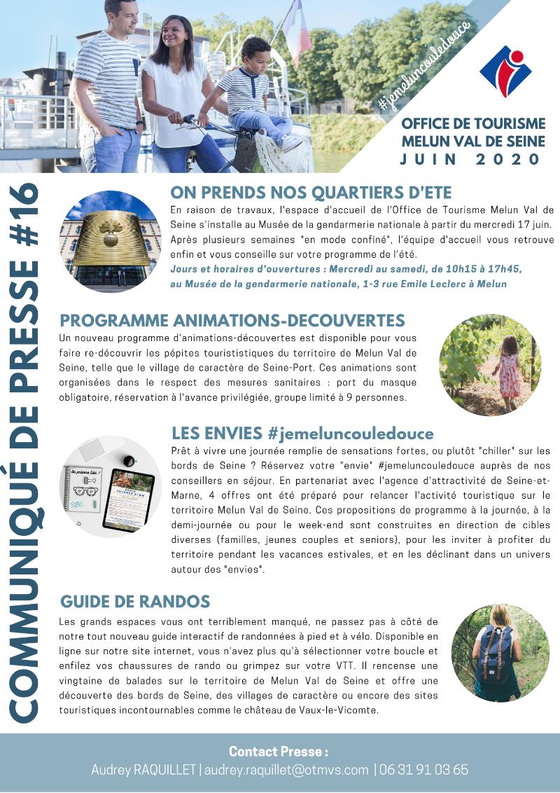 Plaquette Office de tourisme Melun Val de Seine juin 2020