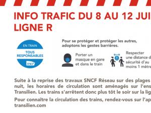 Affiche SNCF info traffic ligne R du 8 au 12 jun