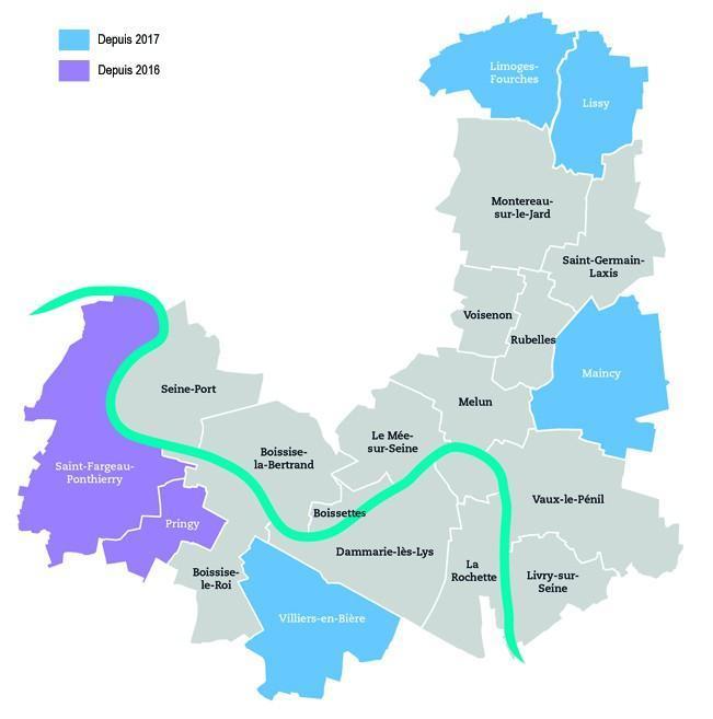 Carte de la Communauté d'Agglomération Melun Val de Seine